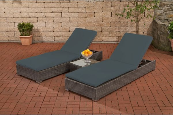 Set Bezüge für 2x Sonnenliege mit Tisch