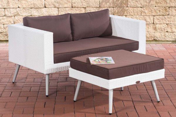 2er Sofa Molde mit Fußhocker weiß